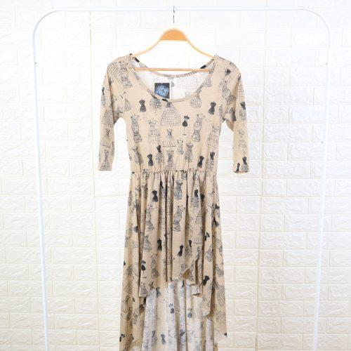 Dress Wanita Cream Motif